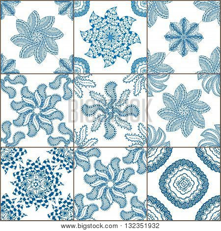 Indigo Blue Tiles Floor Ornament Collection. Gorgeous Seamless Patchwork Pattern from Colorful Traditional Painted Tin Glazed Ceramic Tilework Vintage Illustration Vector template background