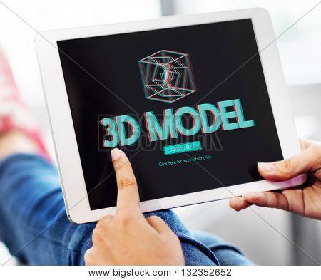 3D Three Dimensional Futuristic Display Modern Concept