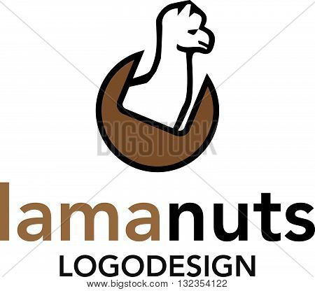 Lama nuts logo vector template isolated on white background