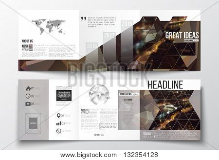 Vector set of tri-fold brochures, square design templates with element of world map and globe. Dark polygonal background, blurred image, night city landscape, Paris cityscape, triangular texture