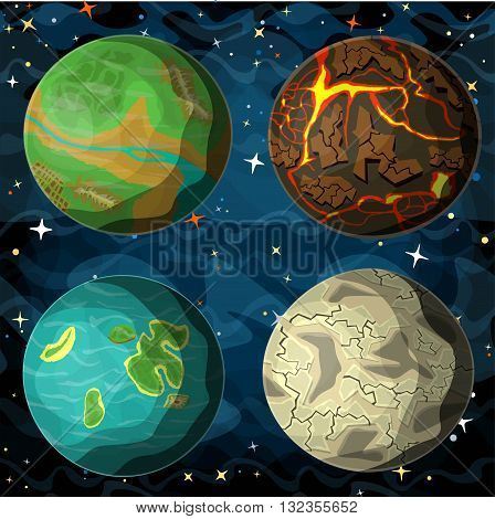 Set of cosmic planets in outer space. Vector cartoon style illustration.
