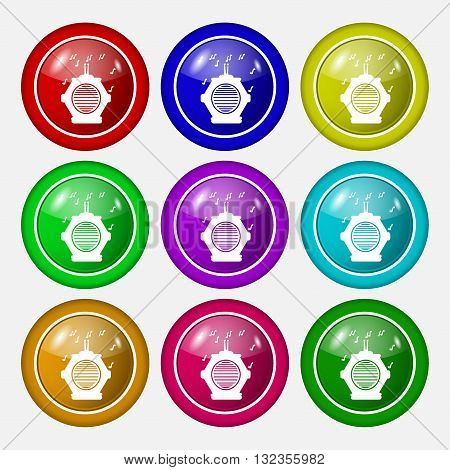 Old Analog Radio Icon Sign. Symbol On Nine Round Colourful Buttons. Vector