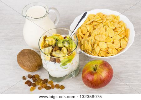 Muesli With Slices Of Fruits And Corn Flakes