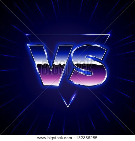 Blue Neon Versus Logo. VS Vector Letters Illustration. Competition Icon. Fight Symbol. 80-s Style Battle Poster.