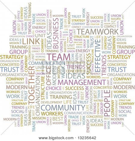 TEAM. Word collage on white background. Illustration with different association terms.