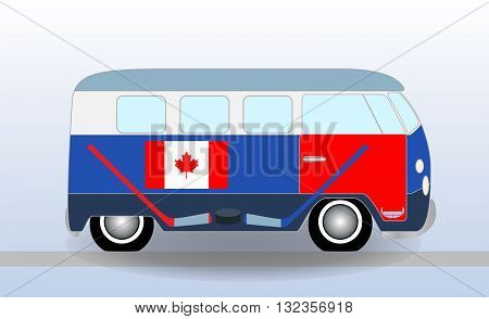 Cartoon minibus with Hockey Stick and Puck. Vector Illustration. EPS10