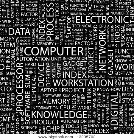 COMPUTER. Seamless vector pattern with word cloud. Illustration with different association terms.