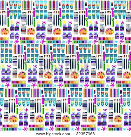 Flat big seamless vector pattern with different art tools and painter equipment hobby background