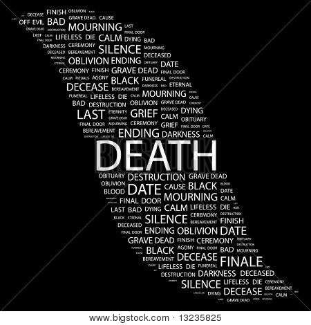 DEATH. Word collage on black background. Illustration with different association terms.