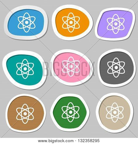 Atom, Physics Symbols. Multicolored Paper Stickers. Vector