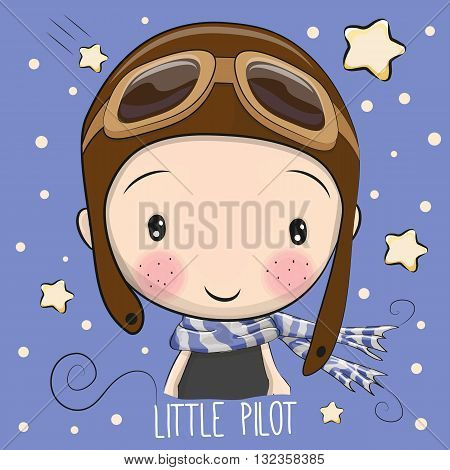 Portrait of a Cute Cartoon Boy in a pilot hat