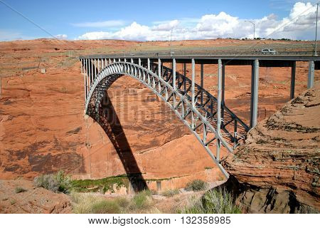 The Glen Canyon bridge across the canyon at Lake Powell near Page, Arizona.