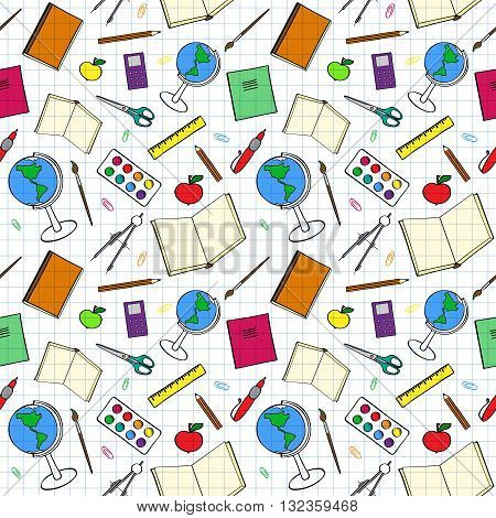 Seamless pattern with colourful school-related items. Sketch-like illustration of books pens and other objects for studies. Background imitating a sheet of paper from a copy-book. Already in swatches.
