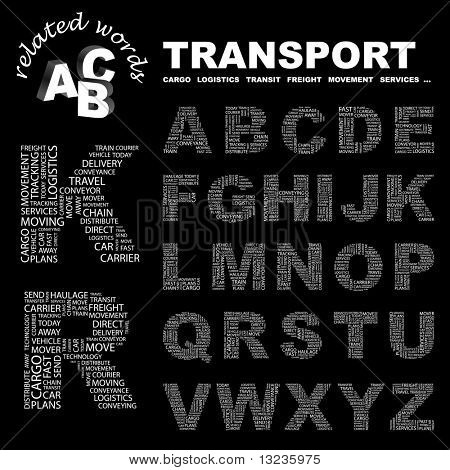 TRANSPORT. Vector letter collection. Illustration with different association terms.