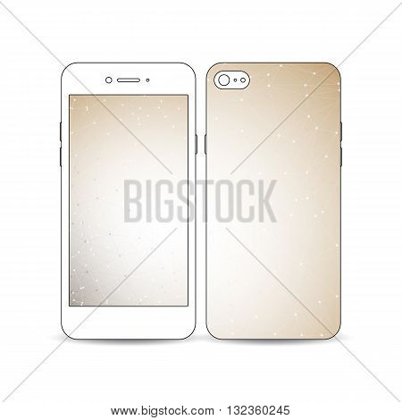 Mobile smartphone with an example of the screen and cover design isolated on white background. Abstract polygonal low poly backdrop with connecting dots and lines, connection structure.