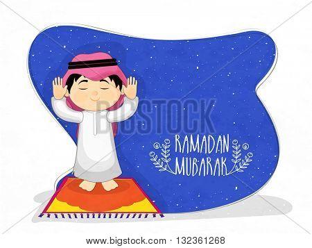 Praying Arabian Boy on blue background, Elegant greeting card design for Islamic Holy Month of Prayers, Ramadan Kareem celebration.