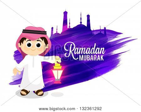 Cute little Arabian Boy holding beautiful lamp on purple brush stroke and Mosque decorated abstract background for Islamic Holy Month, Ramadan Mubarak celebration.