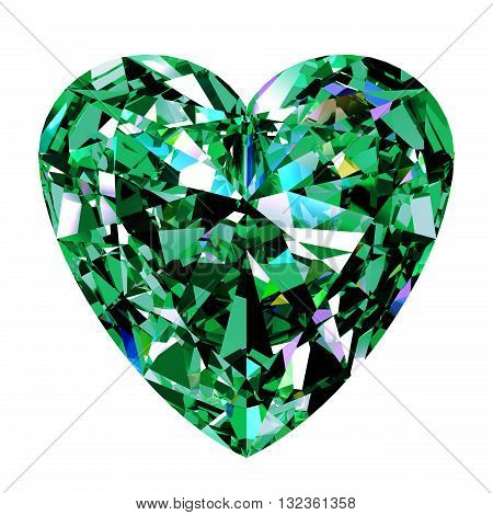 Green Emerald Heart On White Background. 3D Illustration.