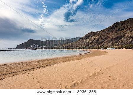 A view of Teresitas Beach in Tenerife, Canary Islands, Spain.