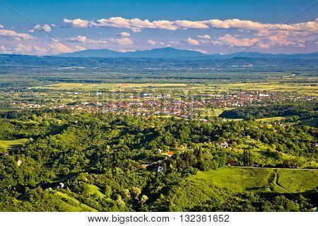 Town of Jastrebarsko and Zumberak vineyard region aerial view northern Croatia