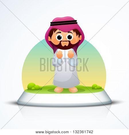 Religious Arabian Man reading Namaz (Islamic Prayer) on glossy stage, Concept for Islamic Holy Festivals celebration.