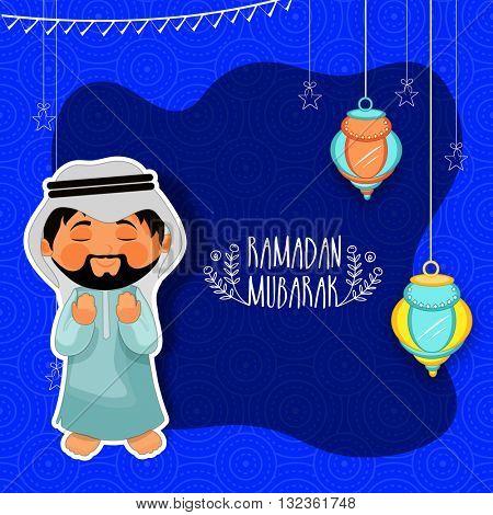 Praying Arabian man on hanging lamps decorated background, Elegant greeting card design for Islamic Holy Month of Prayers, Ramadan Kareem celebration.