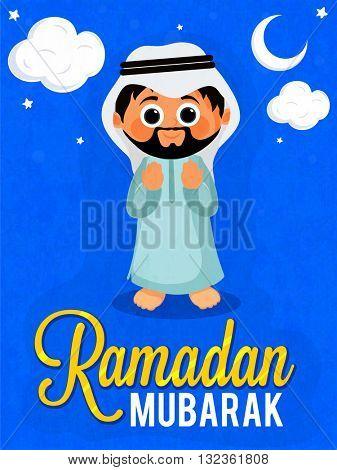 Praying Arabian man on stylish blue background, Pamphlet, Banner or Flyer design for Islamic Holy Month of Prayers, Ramadan Kareem celebration.