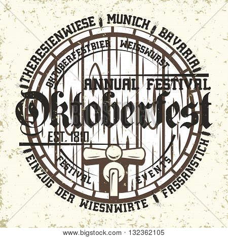 Oktoberfest print stamp with text oktoberfestbier - special beer for festival, Weisswurst - a white sausage, Einzug der Wiesnwirte - Entry of the restaurateurs, Fassanstich - first beer barrel tapping