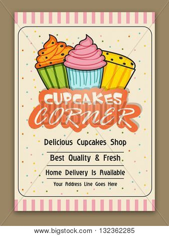 Cupcakes Corner Template, Cupcake Bakery Brochure, Cupcake Shop Menu Design, Restaurant Banner with illustration of colorful fresh cupcakes on vintage background.