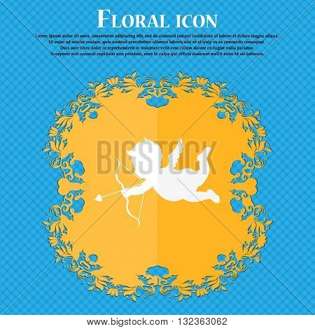 Cupid Icon. Floral Flat Design On A Blue Abstract Background With Place For Your Text. Vector