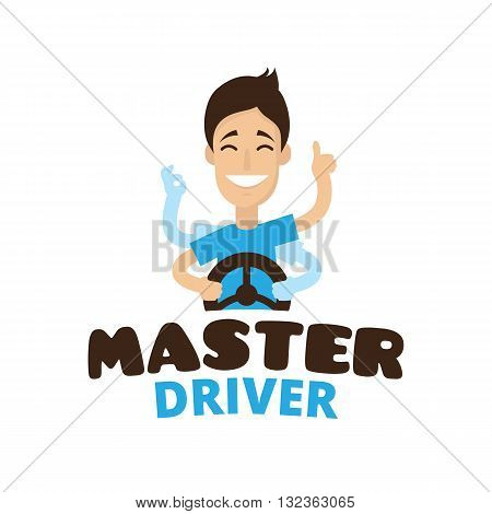 Vector cute cartoon style mascot driver school logo. Guru teen driver logo
