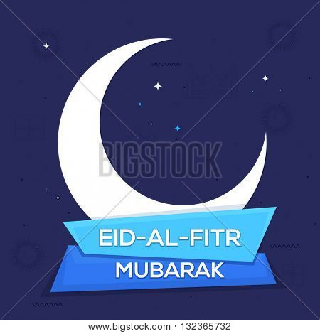 White Crescent Moon with Stylish Text Eid-Al-Fitr Mubarak on paper banners for Islamic Famous Festival celebration.