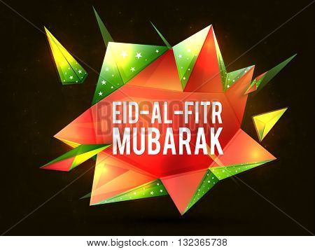 Stylish Text Eid-Al-Fitr Mubarak on glossy creative abstract design for Islamic Famous Festival celebration.