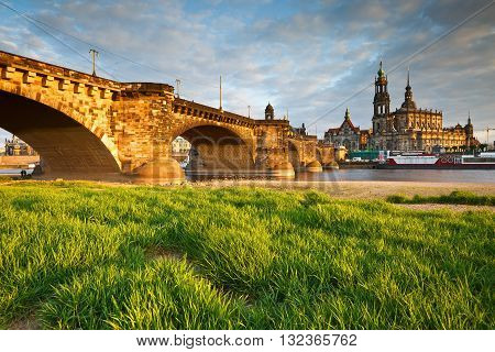 View of the old town of Dresden over river Elbe, Germany.