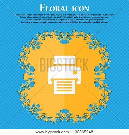 Fax, Printer Icon. Floral Flat Design On A Blue Abstract Background With Place For Your Text. Vector