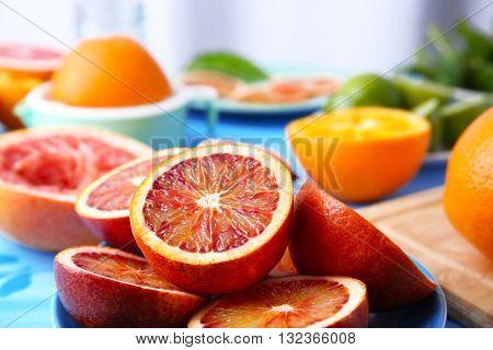 Juicy Sicilian oranges, close up