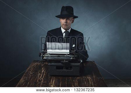 Vintage 1940 Office Worker Behind Desk With Typewriter.
