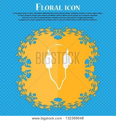 Headphones Icon. Floral Flat Design On A Blue Abstract Background With Place For Your Text. Vector
