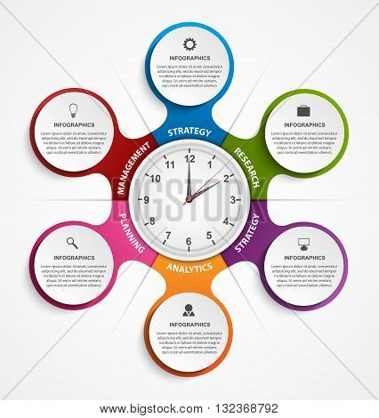 Abstract infographic in the form of metabolic and clock in the centre. Design elements.