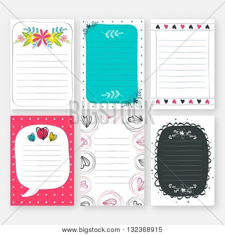 Set of six creative cards. Collection of blank template with hand drawn texture for notebooks, scrapbooking, wrapping and invitations.