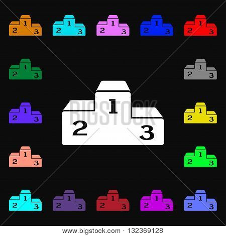 Podium Icon Sign. Lots Of Colorful Symbols For Your Design. Vector