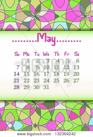 Abstract kaleidoscope background with eastern ornament and dates of spring month May 2017. Vector illustration