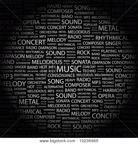 MUSIC. Word collage on black background. Illustration with different association terms.