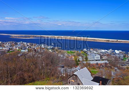 Aerial View On Houses And Atlantic Ocean From Light House