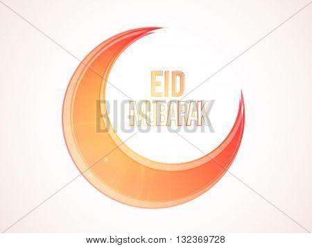 Beautiful Glossy Crescent Moon on shiny background for Muslim Community Festival, Eid Mubarak celebration.