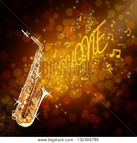 Golden saxophone and notes against shiny background