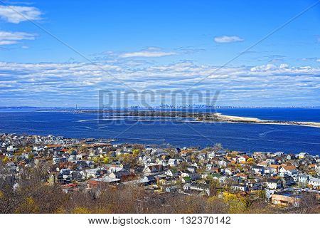 Houses And Atlantic Ocean Shore At Sandy Hook