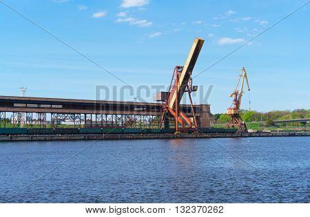 Loading Cranes At The Marina In Ventspils