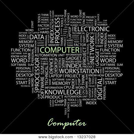 COMPUTADOR. Colagem de palavra sobre fundo preto. Ilustração com termos de associação diferente.