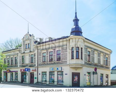 Old House With Steeple In Ventspils Of Latvia